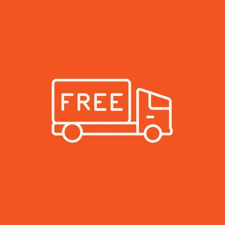Free delivery truck line icon for web, mobile and infographics. Vector white icon isolated on red background. Illusztráció