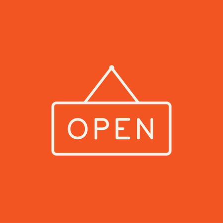 Open sign line icon for web, mobile and infographics. Vector white icon isolated on red background. Stock Illustratie