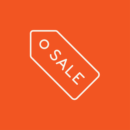 selloff: Sale tag line icon for web, mobile and infographics. Vector white icon isolated on red background.