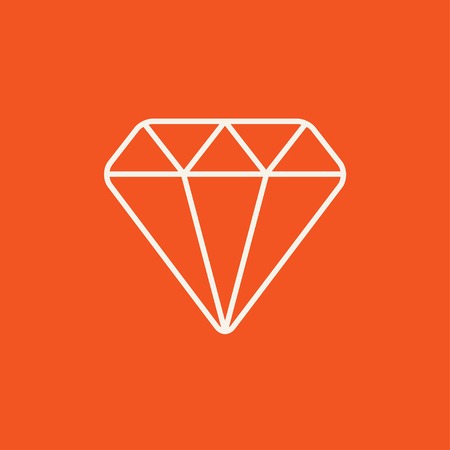 karat: Diamond line icon for web, mobile and infographics. Vector white icon isolated on red background. Illustration