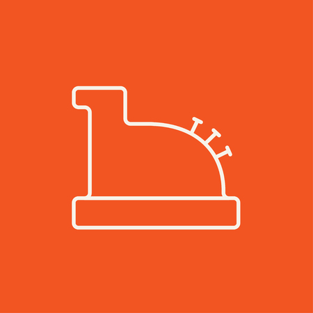 checkout line: Cash register machine line icon for web, mobile and infographics. Vector white icon isolated on red background. Illustration