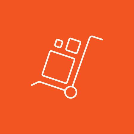 Carretilla de las compras con el icono de la manipulación cajas línea para web, móvil y la infografía. Vector icono de color blanco sobre fondo rojo. Foto de archivo - 49281276