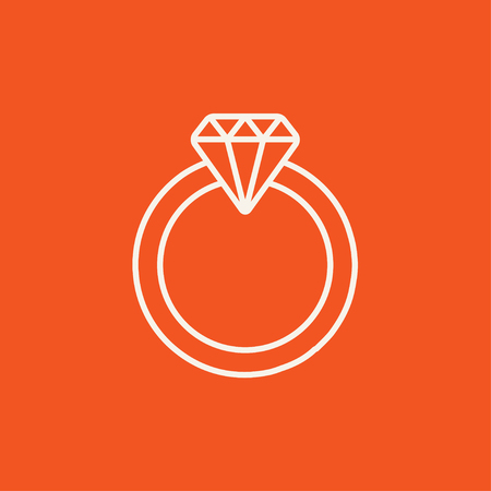 adamant: Diamond ring line icon for web, mobile and infographics. Vector white icon isolated on red background.