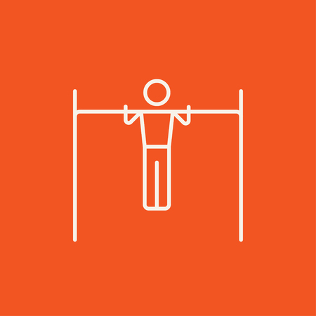 gripping bars: Gymnast exercising on the bar line icon for web, mobile and infographics. Vector white icon isolated on red background.