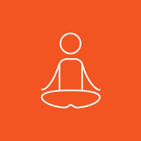 elasticidad: Un hombre meditando en posici�n de loto icono de l�nea para web, m�vil y la infograf�a. Vector icono de color blanco sobre fondo rojo.