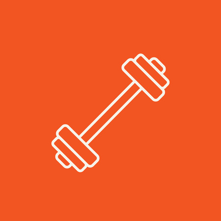 Dumbbell line icon for web, mobile and infographics. Vector white icon isolated on red background.