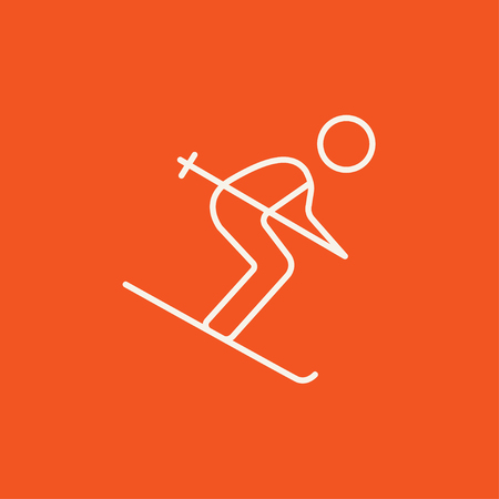 downhill skiing: Downhill skiing line icon for web, mobile and infographics. Vector white icon isolated on red background.