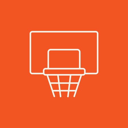 Basketball hoop line icon for web, mobile and infographics. Vector white icon isolated on red background.