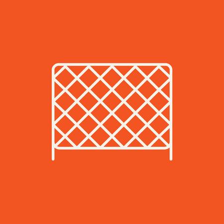 �illustration: Redes para deportes icono de l�nea para web, m�vil y la infograf�a. Vector icono blanco aislado en fondo rojo.
