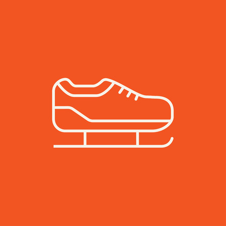 skating on thin ice: Skate line icon for web, mobile and infographics. Vector white icon isolated on red background. Illustration