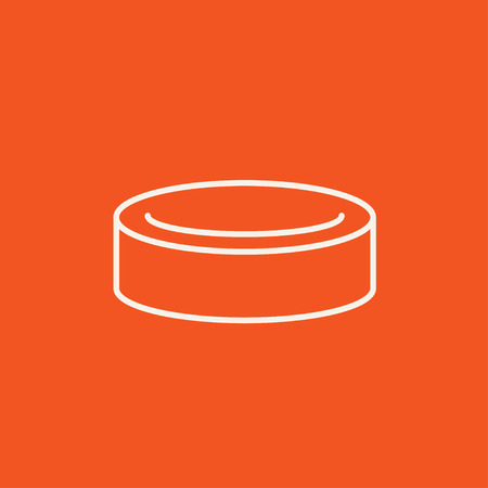 skating on thin ice: Hockey puck line icon for web, mobile and infographics. Vector white icon isolated on red background. Illustration