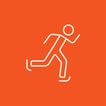 skating on thin ice: Speed skating line icon for web, mobile and infographics. Vector white icon isolated on red background.