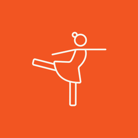 skating on thin ice: Female figure skater line icon for web, mobile and infographics. Vector white icon isolated on red background.