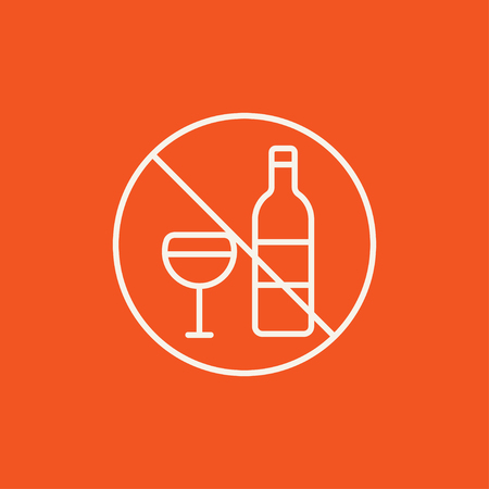 spirituous beverages: No alcohol sign line icon for web, mobile and infographics. Vector white icon isolated on red background.