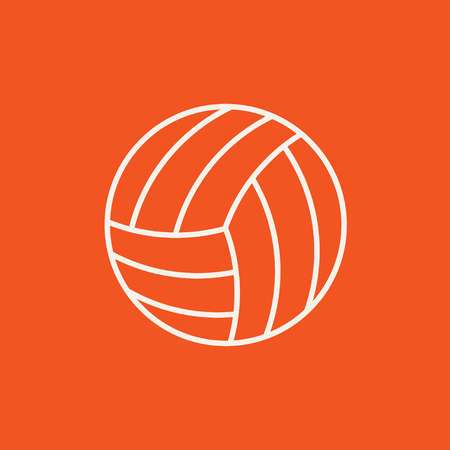 inflated: Volleyball ball line icon for web, mobile and infographics. Vector white icon isolated on red background.