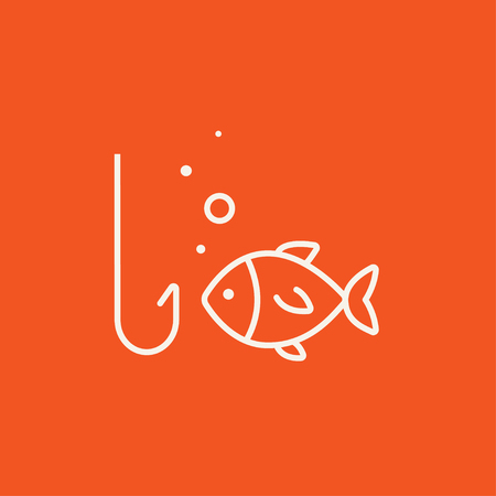 Fish with hook line icon for web, mobile and infographics. Vector white icon isolated on red background. 向量圖像
