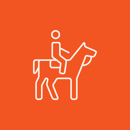 Horse riding line icon for web, mobile and infographics. Vector white icon isolated on red background.