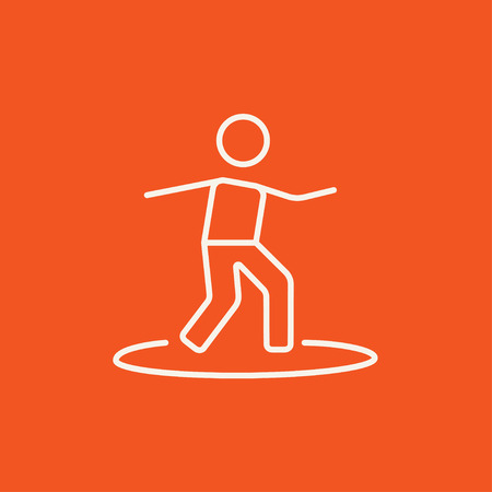 male surfer: Male surfer riding on surfboard line icon for web, mobile and infographics. Vector white icon isolated on red background. Illustration