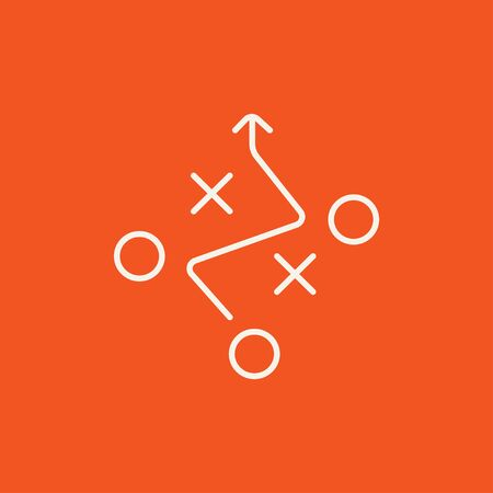 tactics: Tactical plan line icon for web, mobile and infographics. Vector white icon isolated on red background.