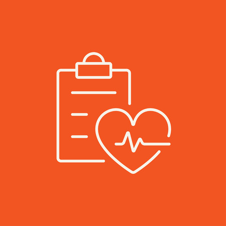 Heartbeat record line icon for web, mobile and infographics. Vector white icon isolated on red background. Illustration