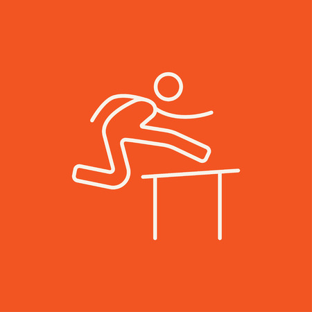 hurdling: Man running over barrier line icon for web, mobile and infographics. Vector white icon isolated on red background.