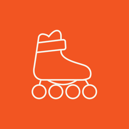 roller skate: Roller skate line icon for web, mobile and infographics. Vector white icon isolated on red background.