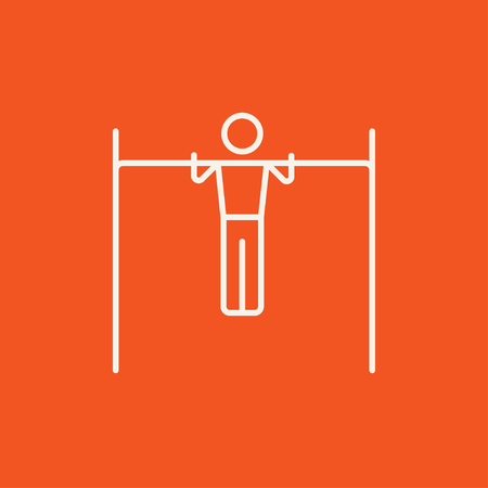 Gymnast exercising on the bar line icon for web, mobile and infographics. Vector white icon isolated on red background.