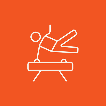 pommel: Gymnast exercising on the pommel horse line icon for web, mobile and infographics. Vector white icon isolated on red background.