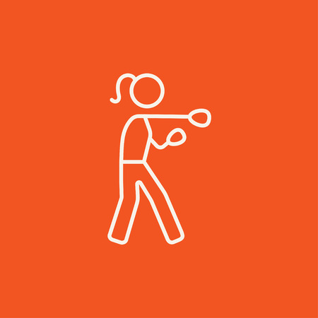 knockdown: Female boxer line icon for web, mobile and infographics. Vector white icon isolated on red background.