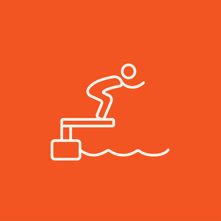 diving platform: Swimmer jumping from starting block in pool line icon for web, mobile and infographics. Vector white icon isolated on red background.