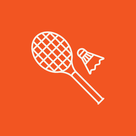 badminton sport symbol: Shuttlecock and badminton racket line icon for web, mobile and infographics. Vector white icon isolated on red background. Illustration