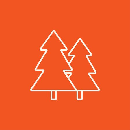 Pine trees line icon for web, mobile and infographics. Vector white icon isolated on red background. Illustration