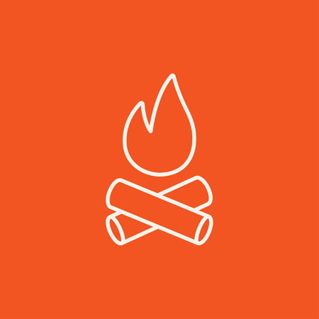 Campfire line icon for web, mobile and infographics. Vector white icon isolated on red background. Vettoriali