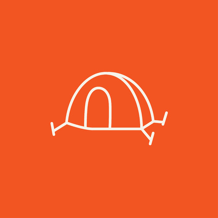 Tent line icon for web, mobile and infographics. Vector white icon isolated on red background.