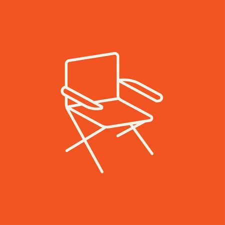 foldable: Folding chair line icon for web, mobile and infographics. Vector white icon isolated on red background.