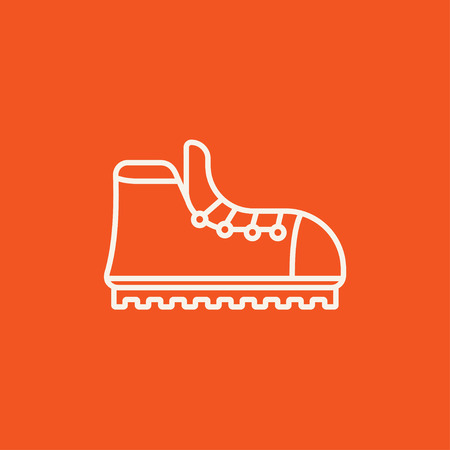 crampons: Hiking boot with crampons line icon for web, mobile and infographics. Vector white icon isolated on red background. Illustration