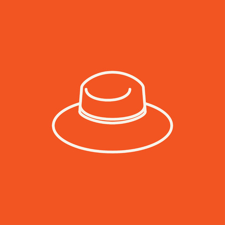 Summer hat line icon for web, mobile and infographics. Vector white icon isolated on red background.