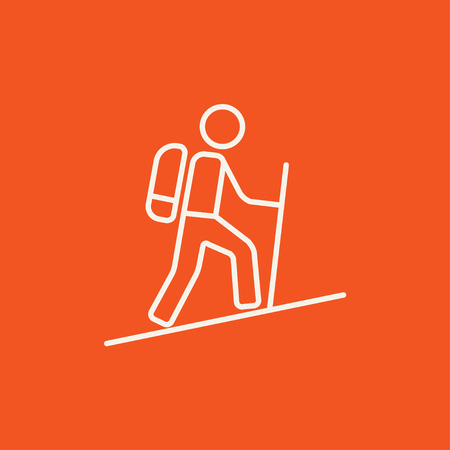 backpacker: Tourist backpacker line icon for web, mobile and infographics. Vector white icon isolated on red background.