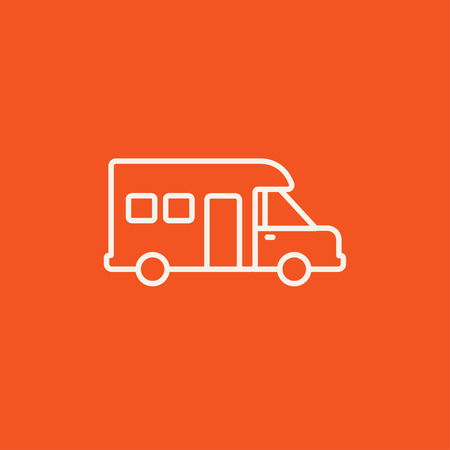 motorhome: Motorhome line icon for web, mobile and infographics. Vector white icon isolated on red background. Illustration