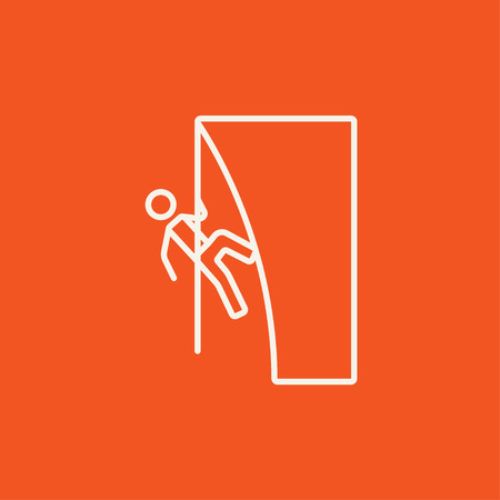 daring: Rock climber climbing an overhanging cliff line icon for web, mobile and infographics. Vector white icon isolated on red background.