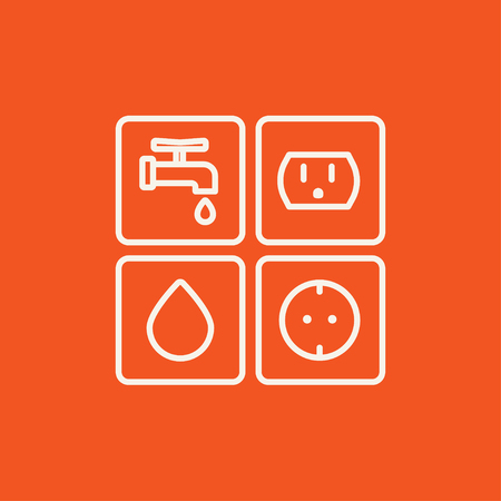utilities: Utilities signs electricity and water line icon for web, mobile and infographics. Vector white icon isolated on red background.