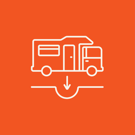 ditch: Motorhome and sump line icon for web, mobile and infographics. Vector white icon isolated on red background. Illustration