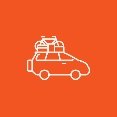 roof line: Car with bicycle mounted to the roof line icon for web, mobile and infographics. Vector white icon isolated on red background.