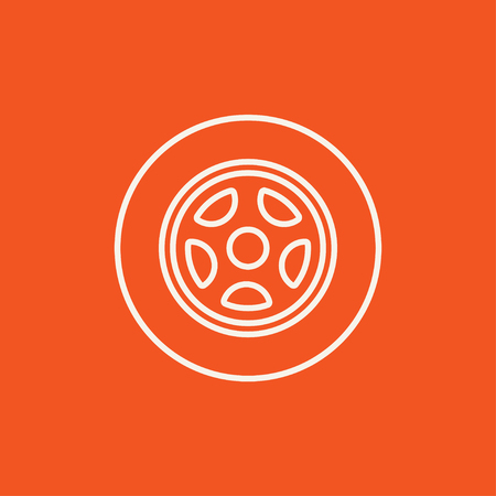 ring road: Car wheel line icon for web, mobile and infographics. Vector white icon isolated on red background.
