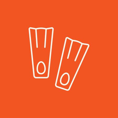 flippers: Flippers line icon for web, mobile and infographics. Vector white icon isolated on red background.