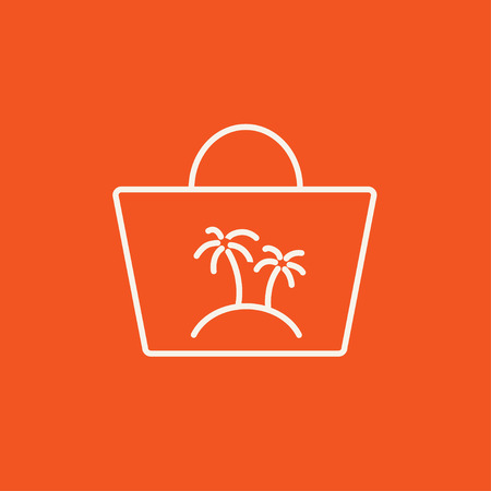 Beach bag line icon for web, mobile and infographics. Vector white icon isolated on red background. Stock Illustratie