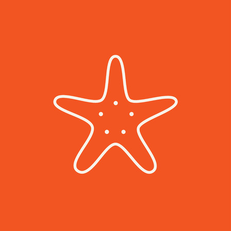 seafish: Starfish line icon for web, mobile and infographics. Vector white icon isolated on red background.