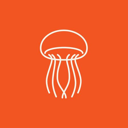 stingers: Jellyfish line icon for web, mobile and infographics. Vector white icon isolated on red background.