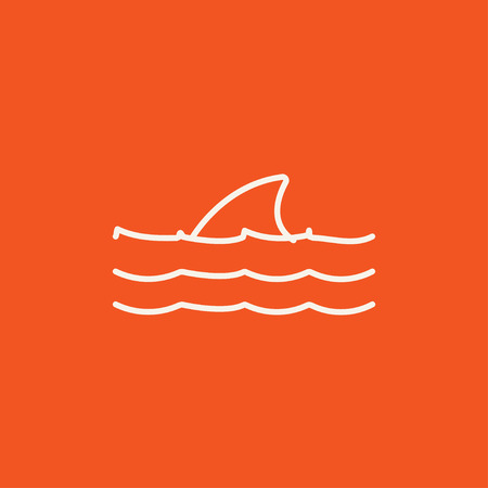 dorsal: Dorsal shark fin above water line icon for web, mobile and infographics. Vector white icon isolated on red background. Illustration