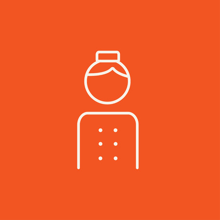 bellboy: Bellboy line icon for web, mobile and infographics. Vector white icon isolated on red background.